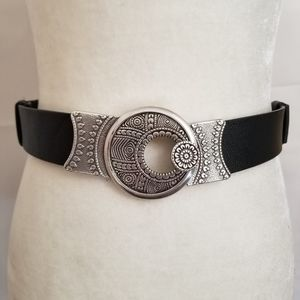 Chicos Leather Belt Silver Hardware Floral
